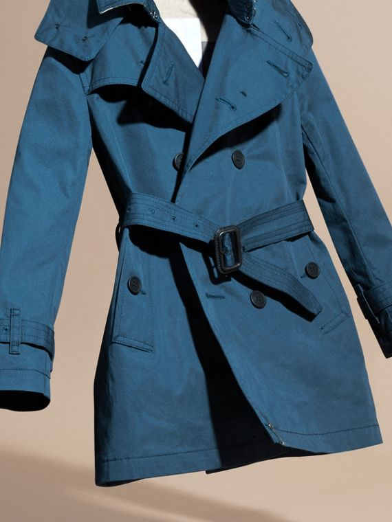 Pale indigo Hooded Cotton Twill Trench Coat Pale Indigo - cell image 2
