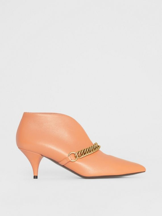 Link Detail Leather Ankle Boots in Russet Pink