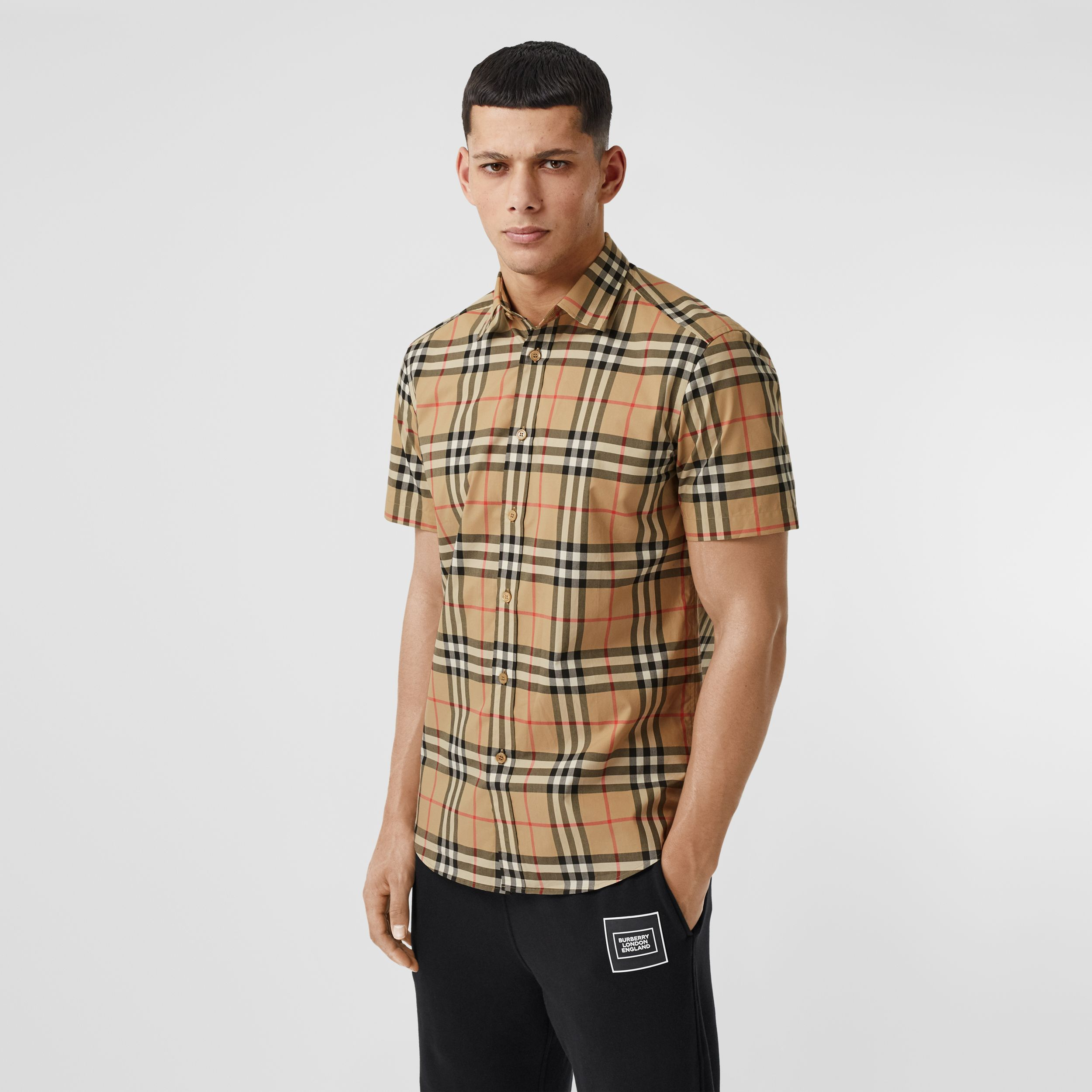 Short-sleeve Check Cotton Poplin Shirt in Archive Beige - Men | Burberry - 1