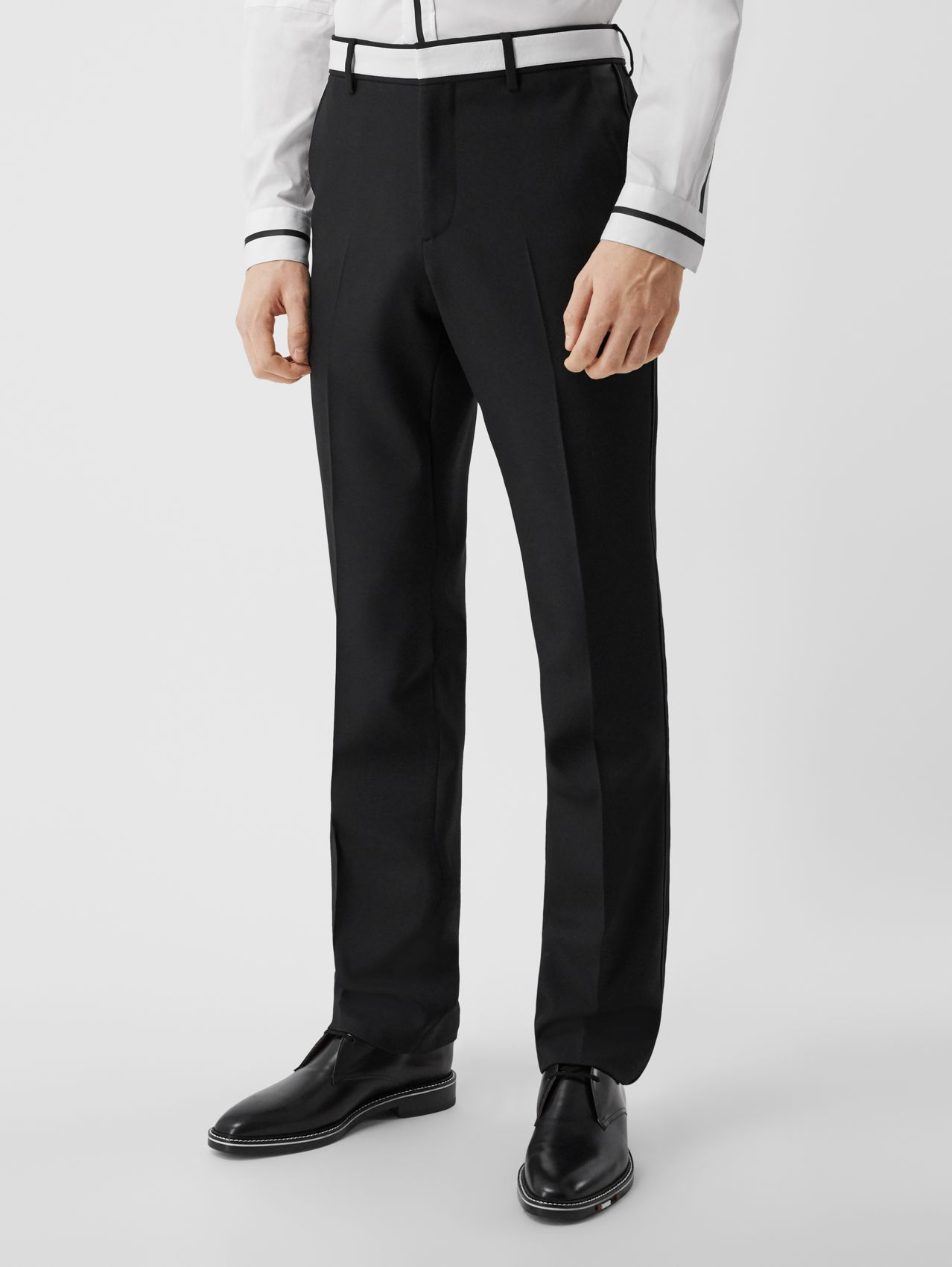 Classic Fit Lambskin Detail Wool Tailored Trousers in Black