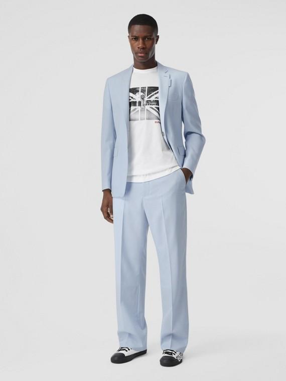 Pantalon ample en laine (Bleu Pâle)
