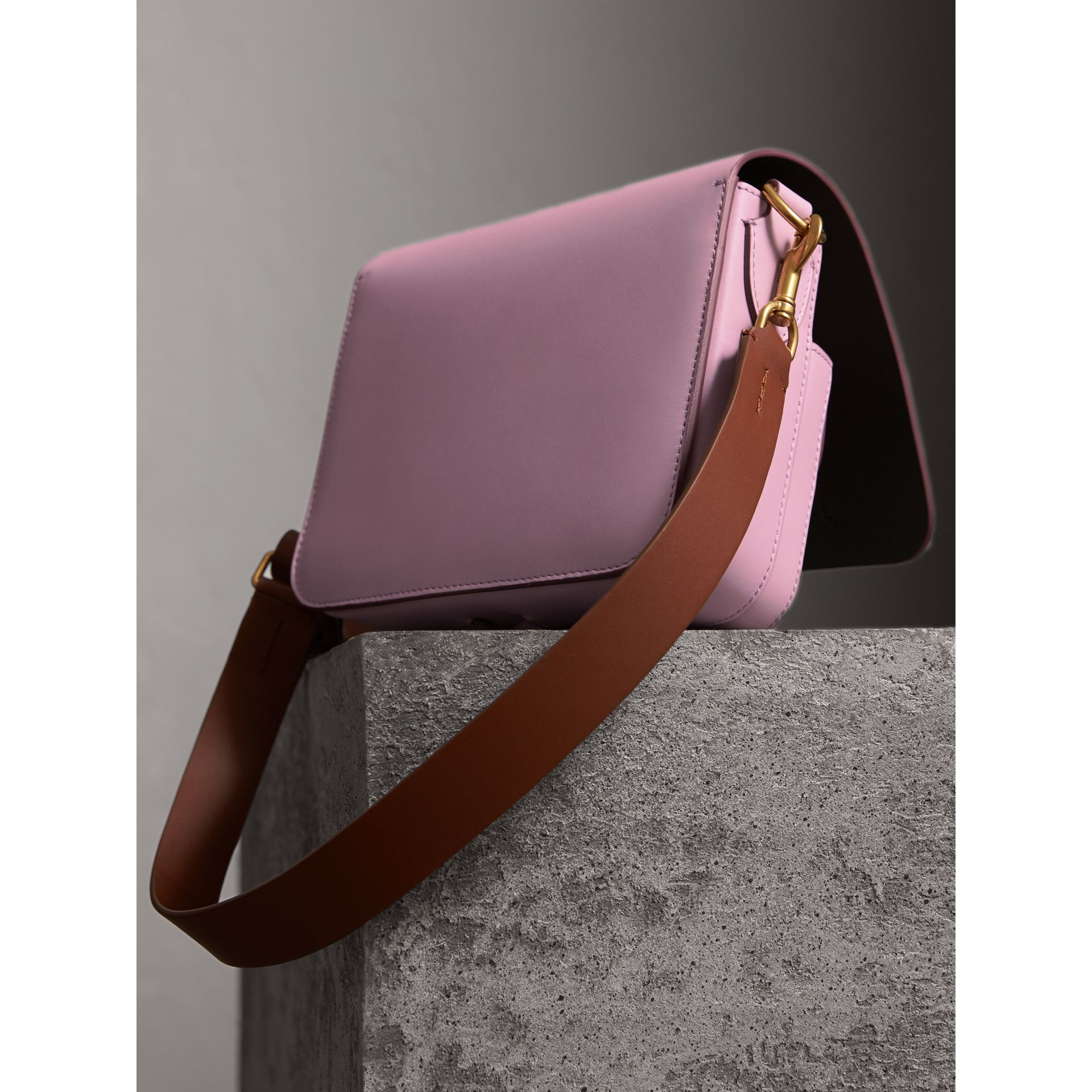 The Square Satchel in Leather in Pale Lavender - Women | Burberry United Kingdom - gallery image 4