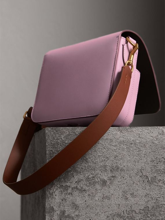 The Square Satchel in Leather in Pale Lavender - Women | Burberry United Kingdom - cell image 3