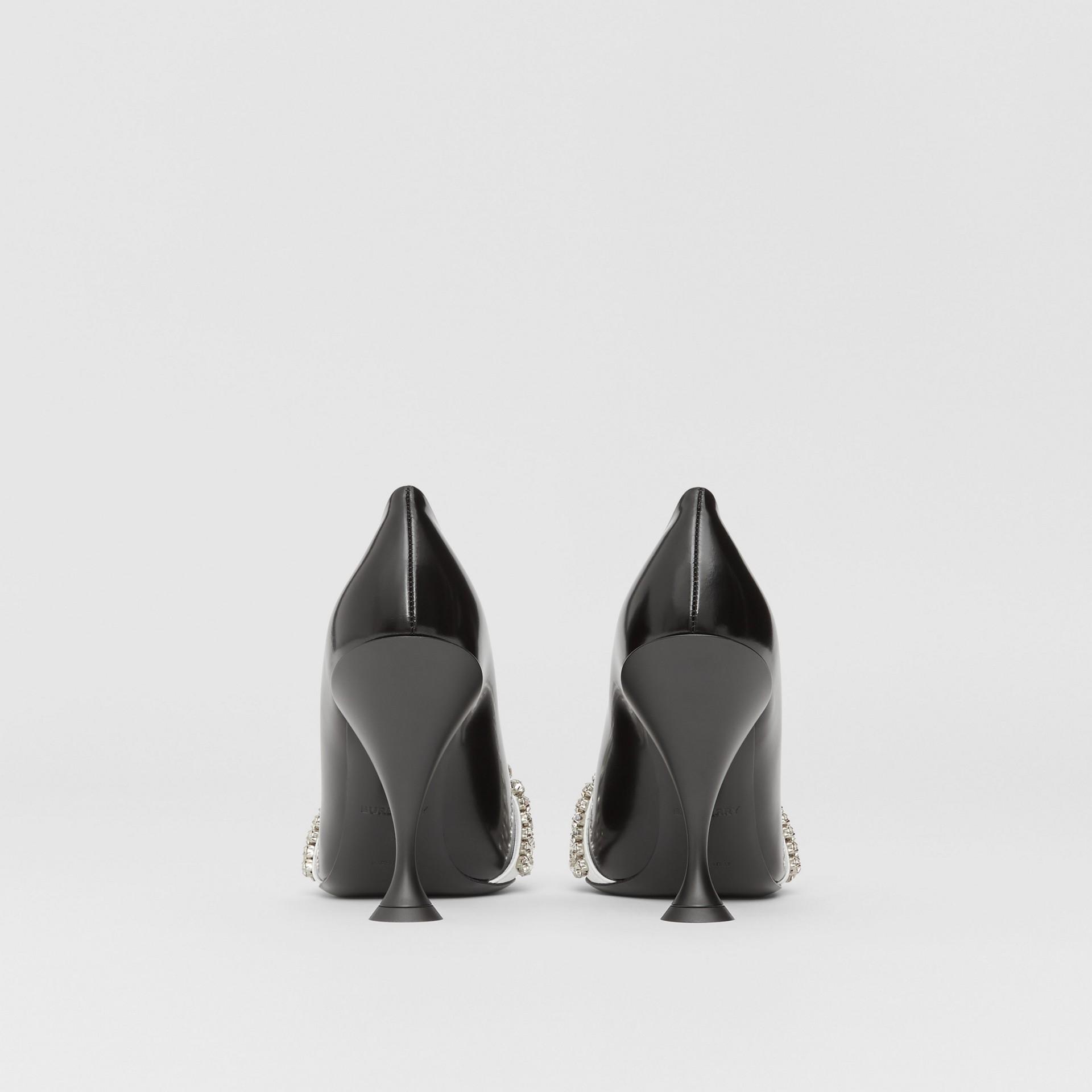 Spitz zulaufende Pumps aus Leder und Veloursleder mit Kristalldetail (Schwarz) - Damen | Burberry - Galerie-Bild 4
