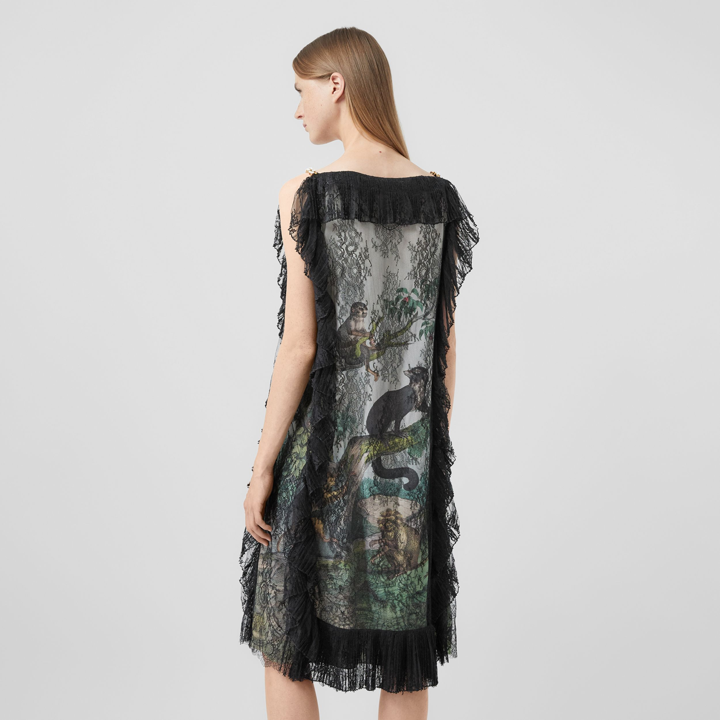 Chantilly Lace and Monkey Print Silk Shift Dress in Light Opal Green - Women | Burberry - 3