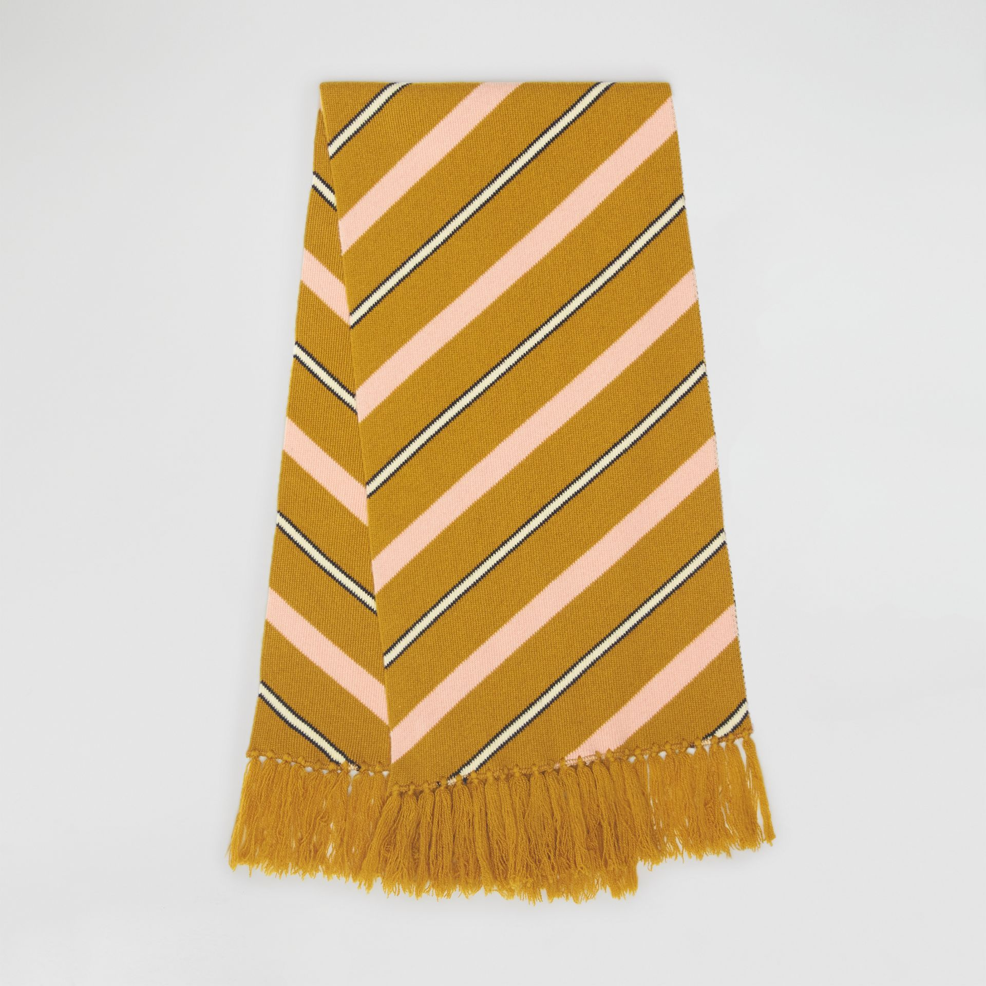 Tri-tone Striped Wool Cashmere Scarf in Dusty Yellow | Burberry - gallery image 6