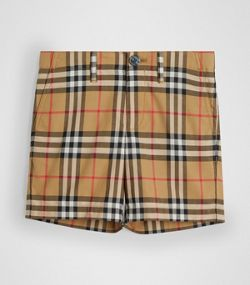b69deb6e9fd4 Short habillé en coton à motif Vintage check (Jaune Antique)