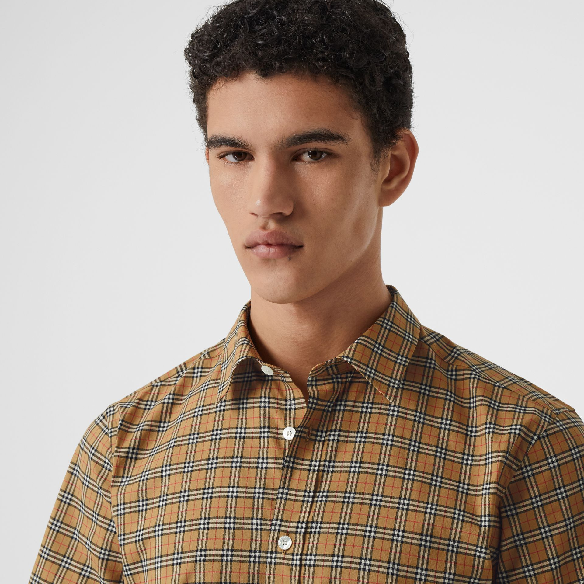 Short-sleeve Check Cotton Shirt in Antique Yellow - Men | Burberry - gallery image 1