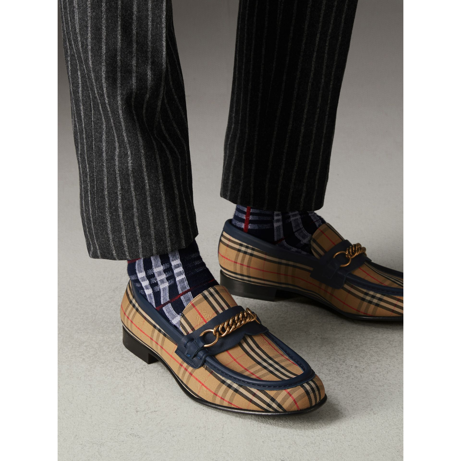 The 1983 Check Link Loafer in Ink Blue - Men | Burberry Singapore - gallery image 2