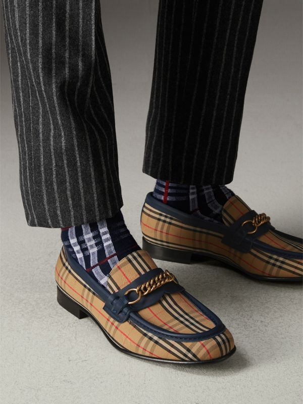 The 1983 Check Link Loafer in Ink Blue - Men | Burberry Singapore - cell image 2