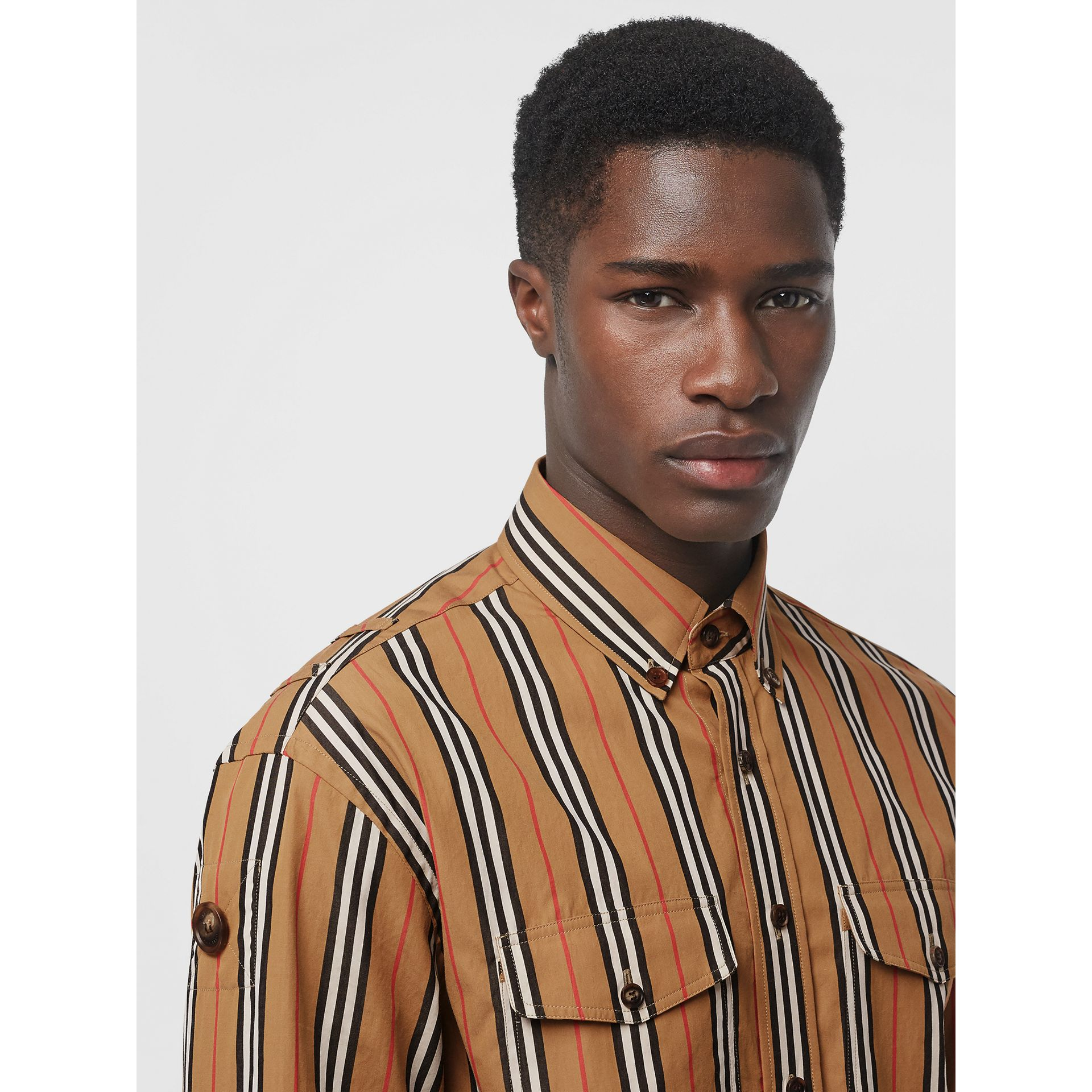 Icon Stripe Cotton Shirt in Antique Yellow - Men | Burberry - gallery image 1
