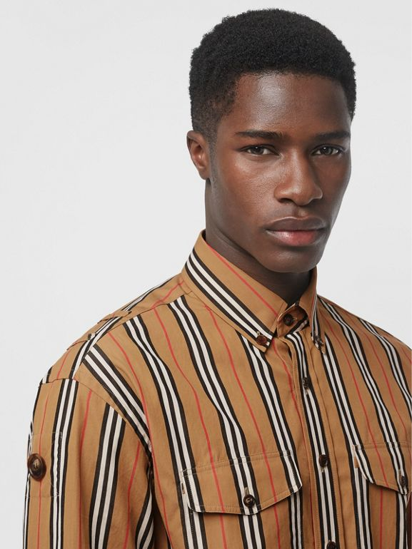 Icon Stripe Cotton Shirt in Antique Yellow - Men | Burberry Canada - cell image 1