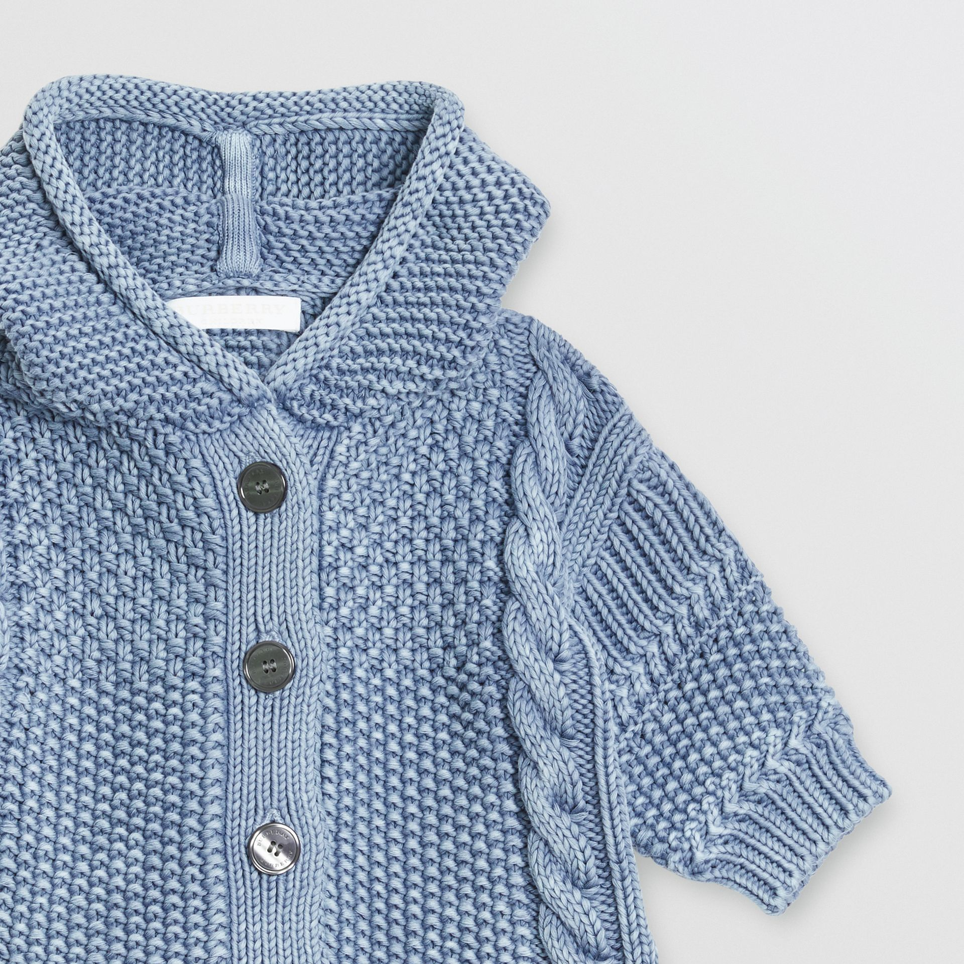 Contrast Knit Cotton Hooded Jacket in Dusty Blue - Children | Burberry - gallery image 4