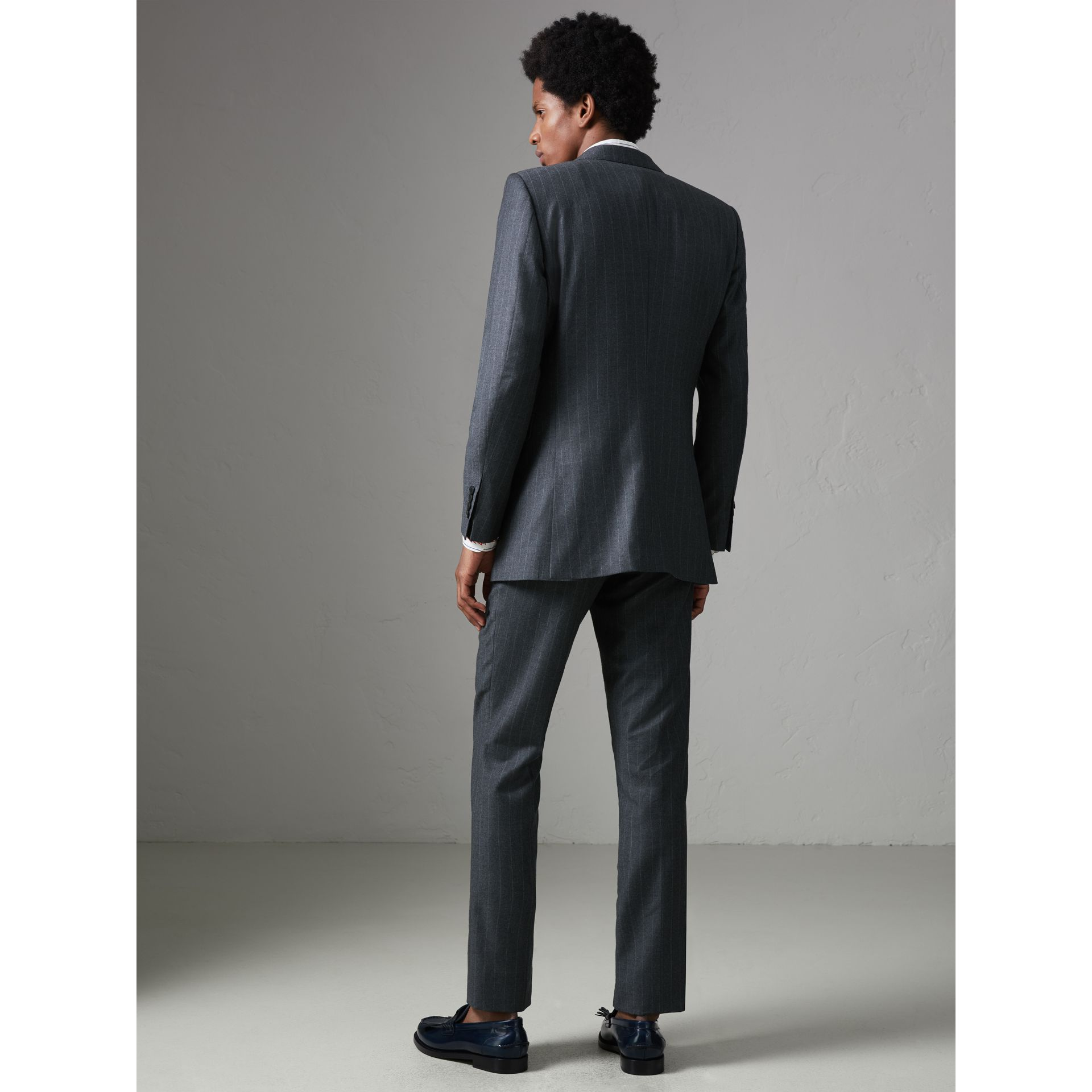Slim Fit Pinstripe Wool Cashmere Suit in Mid Grey - Men | Burberry - gallery image 2