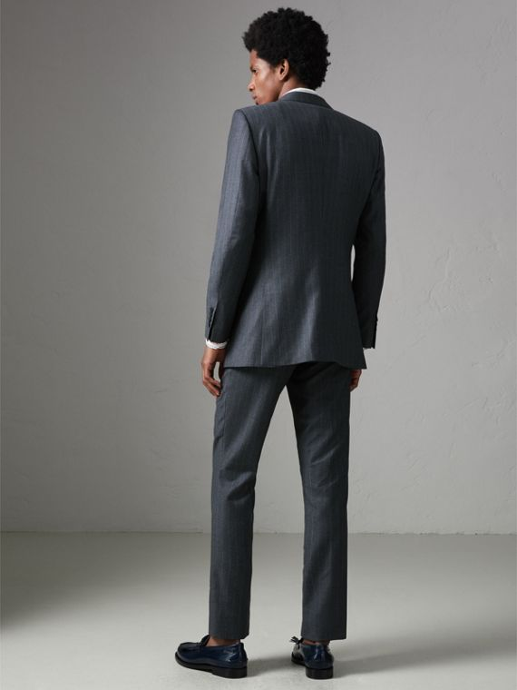 Slim Fit Pinstripe Wool Cashmere Suit in Mid Grey - Men | Burberry United States - cell image 2