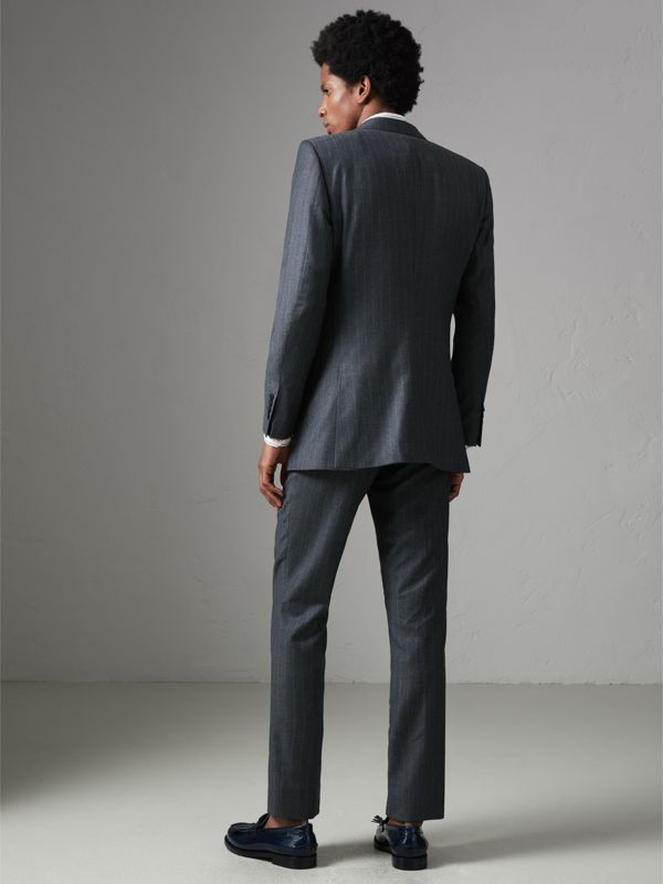 Slim Fit Pinstriped Wool Cashmere Suit in Mid Grey - Men | Burberry - cell image 2