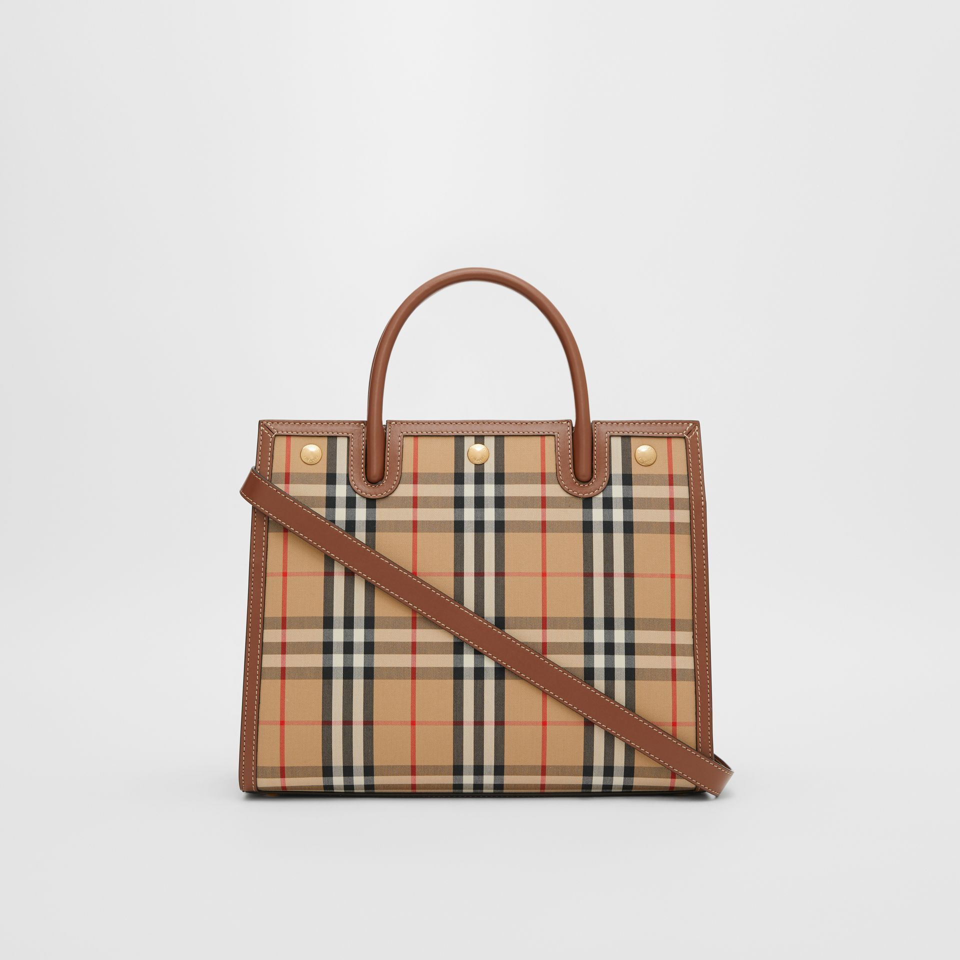 Small Vintage Check Two-handle Title Bag in Archive Beige - Women | Burberry - gallery image 7