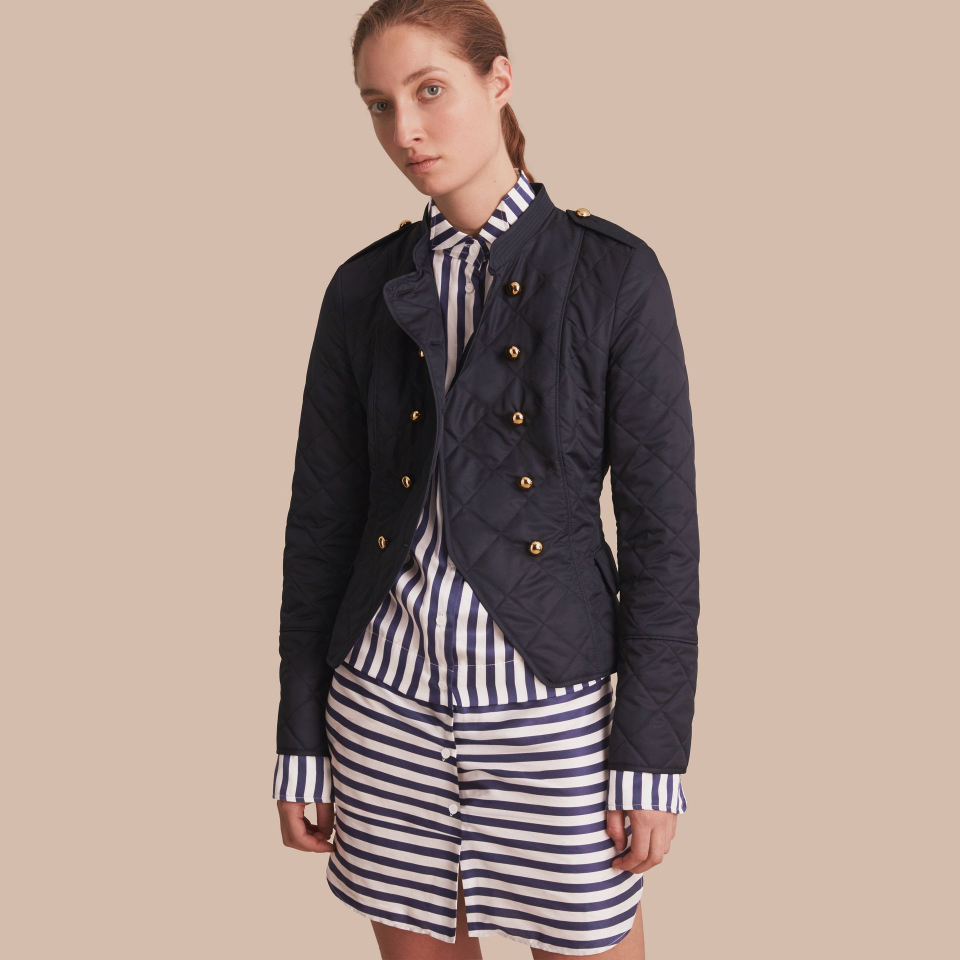 Double-breasted Quilted Military Jacket in Navy - gallery image 1