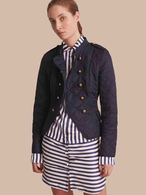 Double-breasted Quilted Military Jacket in Navy