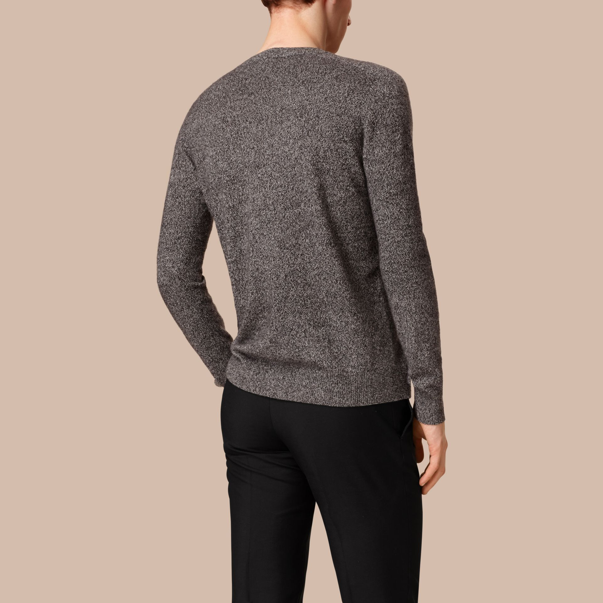 Dark grey melange Mouliné Cashmere Sweater - gallery image 2