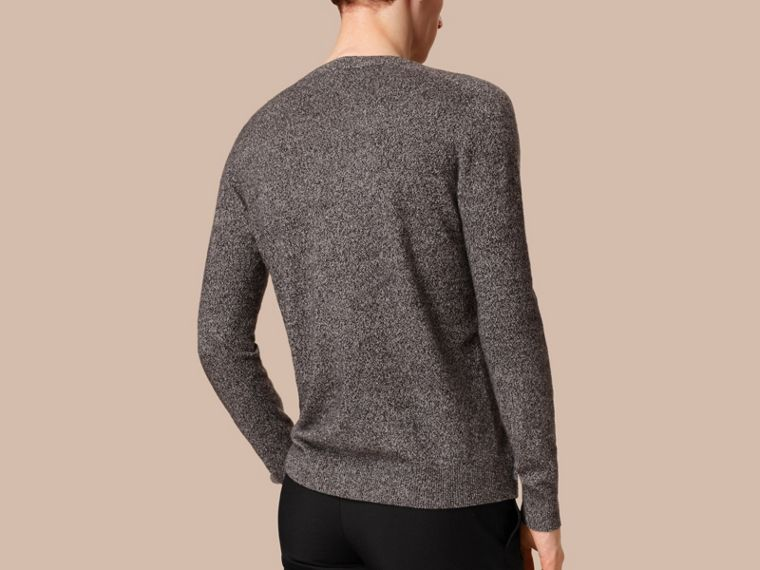 Dark grey melange Mouliné Cashmere Sweater - cell image 1