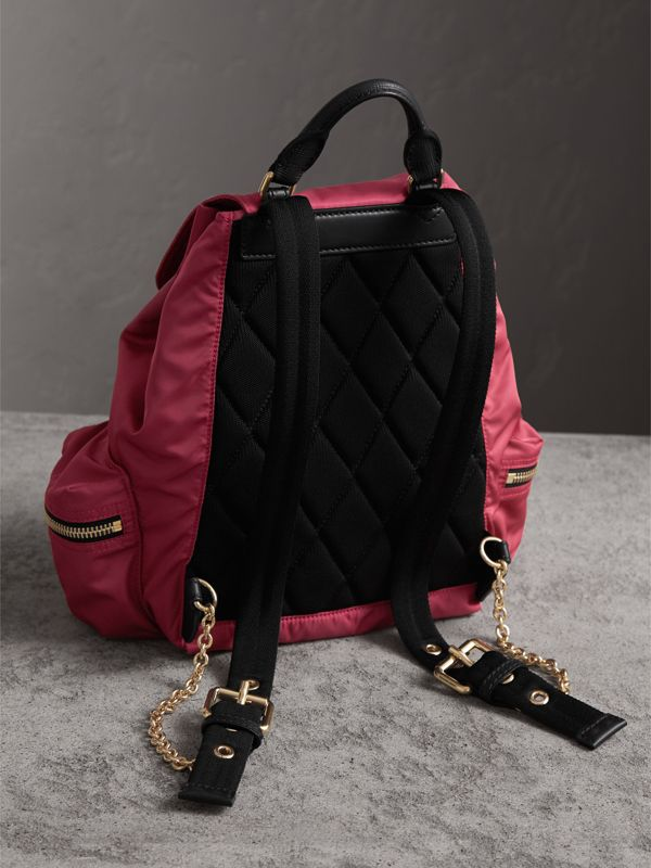 The Medium Rucksack in Technical Nylon and Leather in Plum Pink - Women | Burberry - cell image 3
