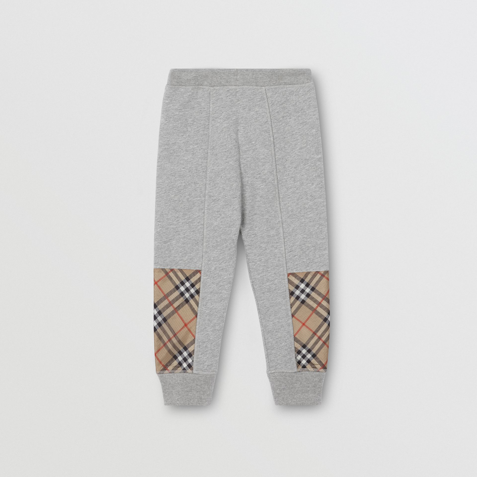 Vintage Check Panel Cotton Trackpants in Grey Melange | Burberry - gallery image 3