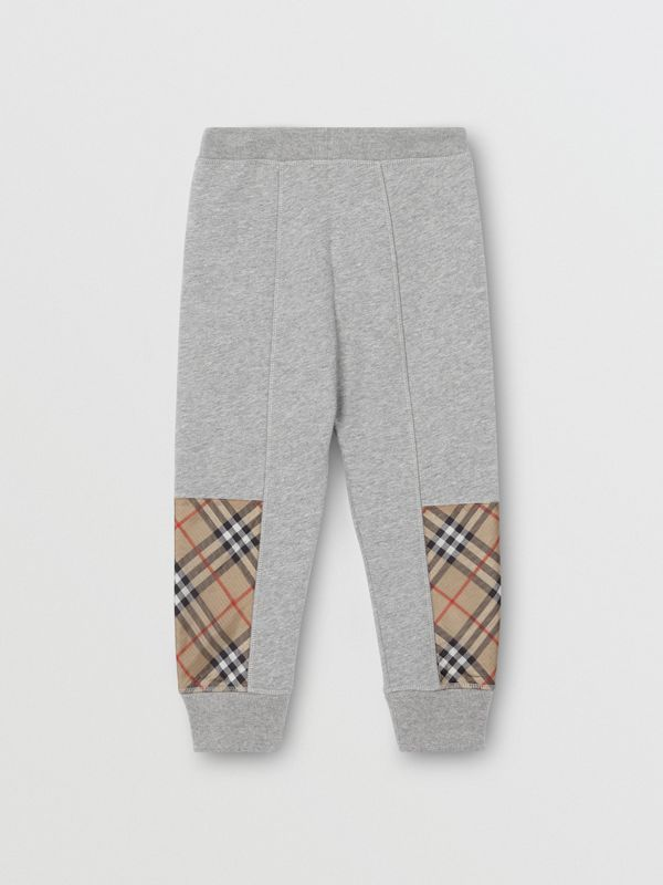 Vintage Check Panel Cotton Trackpants in Grey Melange | Burberry - cell image 3