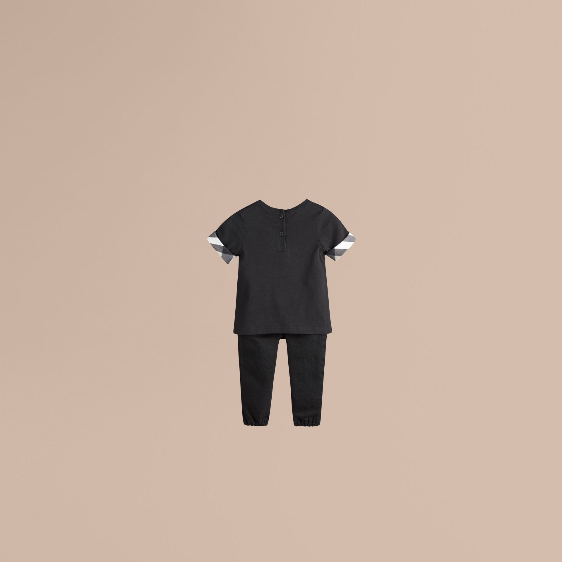 Check Cuff Cotton T-shirt in Black - Girl | Burberry - gallery image 2