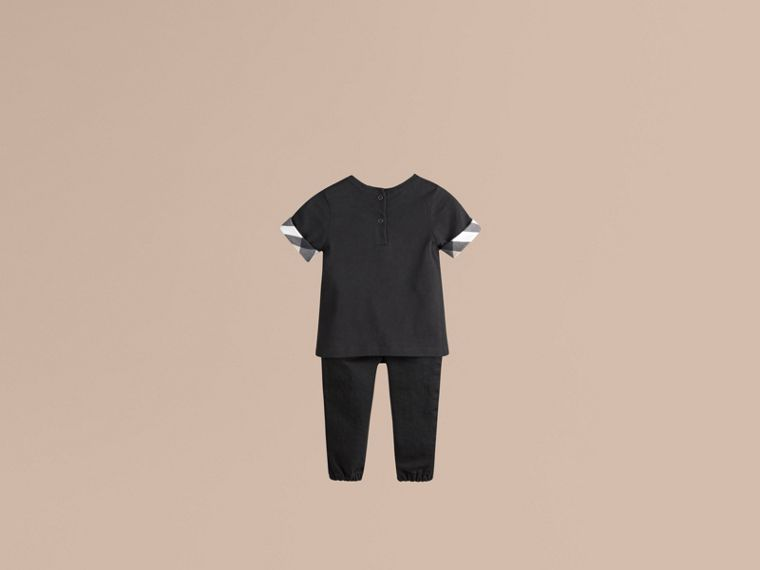 Check Cuff Cotton T-shirt - Girl | Burberry - cell image 1