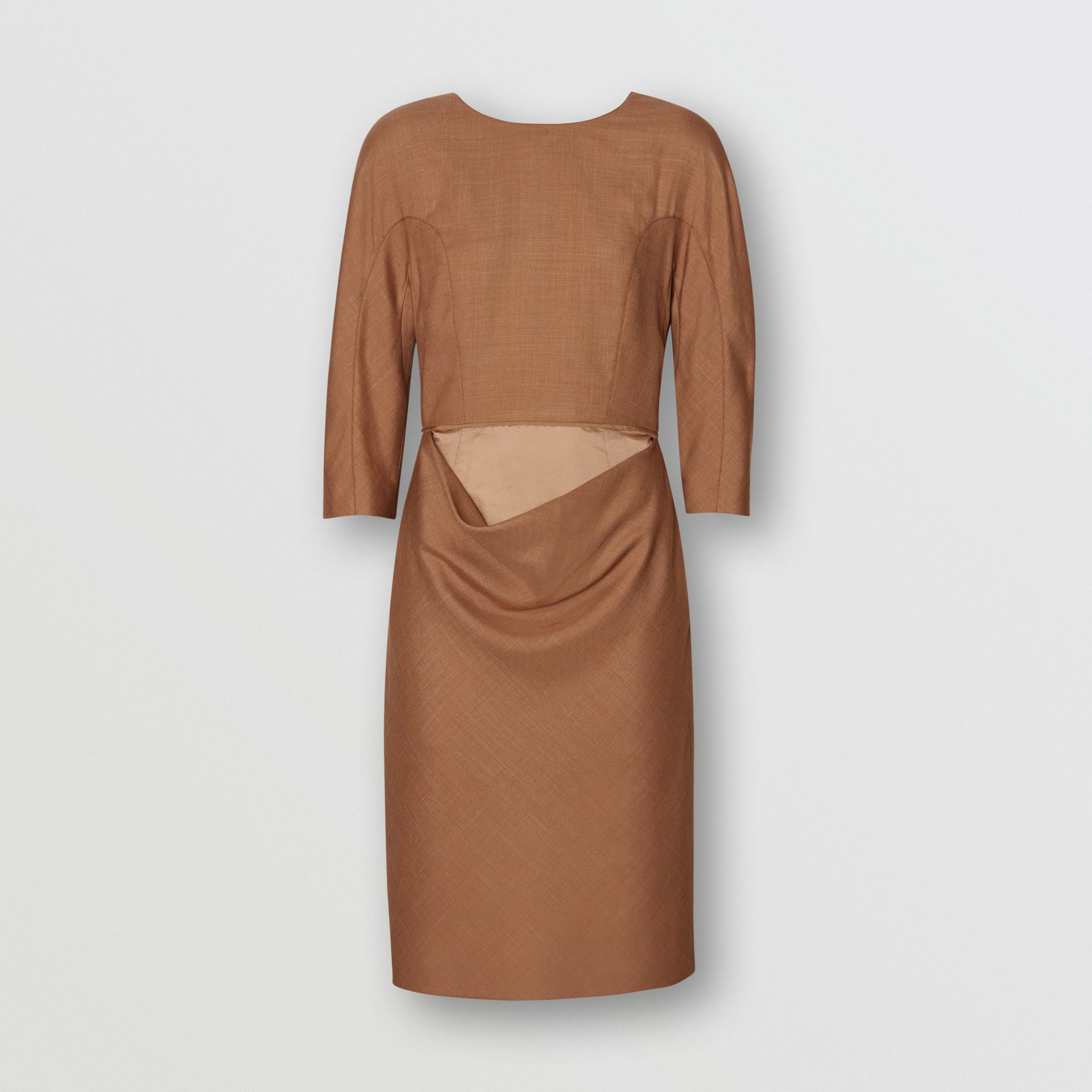 Double-waist Wool Silk Mohair Linen Dress in Bronze - Women | Burberry - gallery image 3