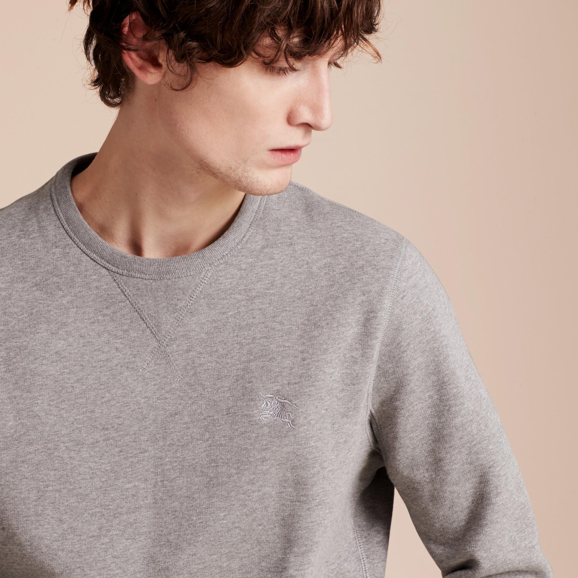 Cotton Blend Jersey Sweatshirt Pale Grey Melange - gallery image 5