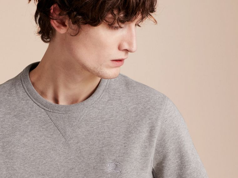 Cotton Blend Jersey Sweatshirt in Pale Grey Melange - cell image 4