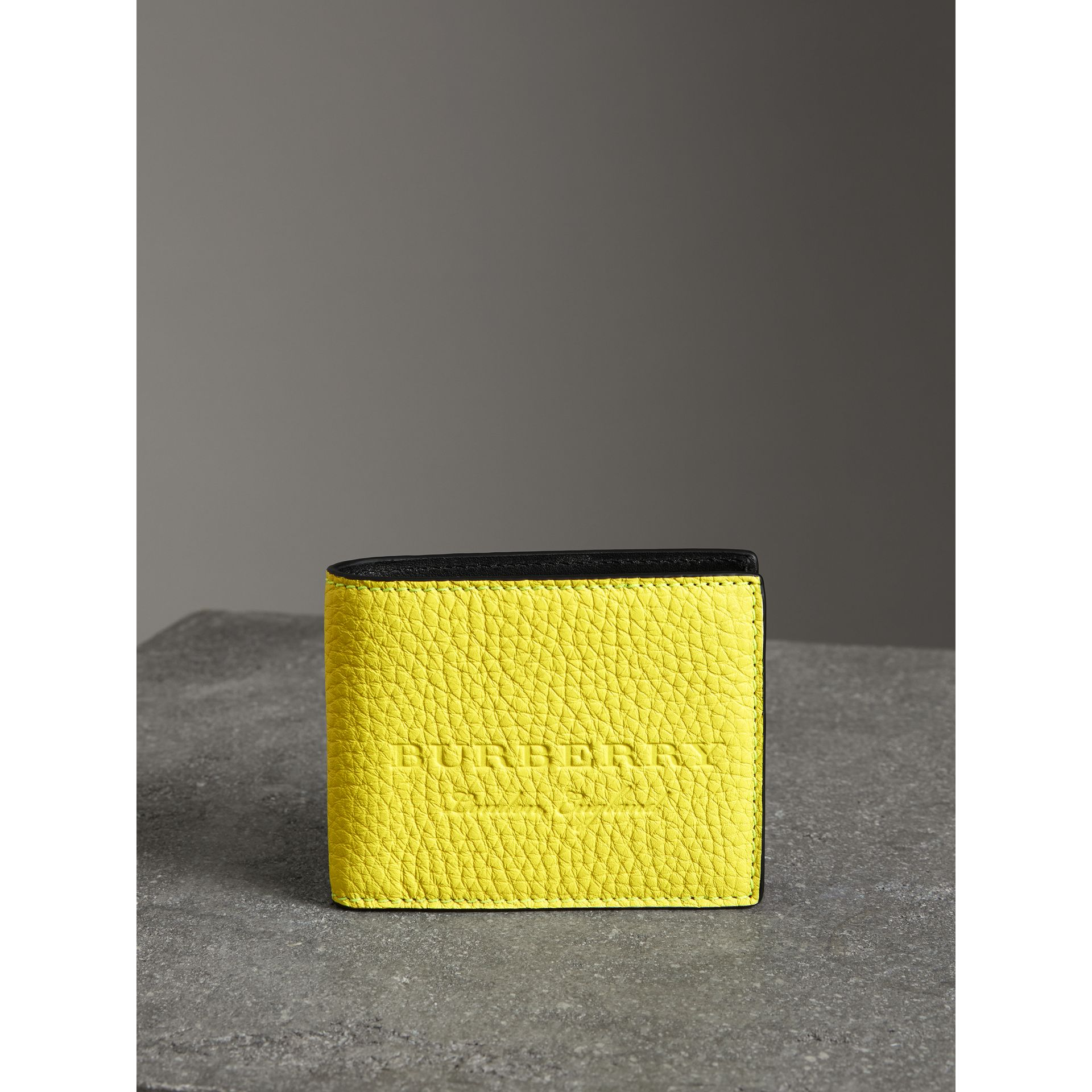 Embossed Leather Bifold Wallet in Neon Yellow - Men | Burberry United States - gallery image 4