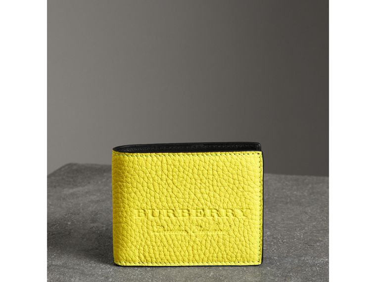 Embossed Leather Bifold Wallet in Neon Yellow - Men | Burberry United States - cell image 4