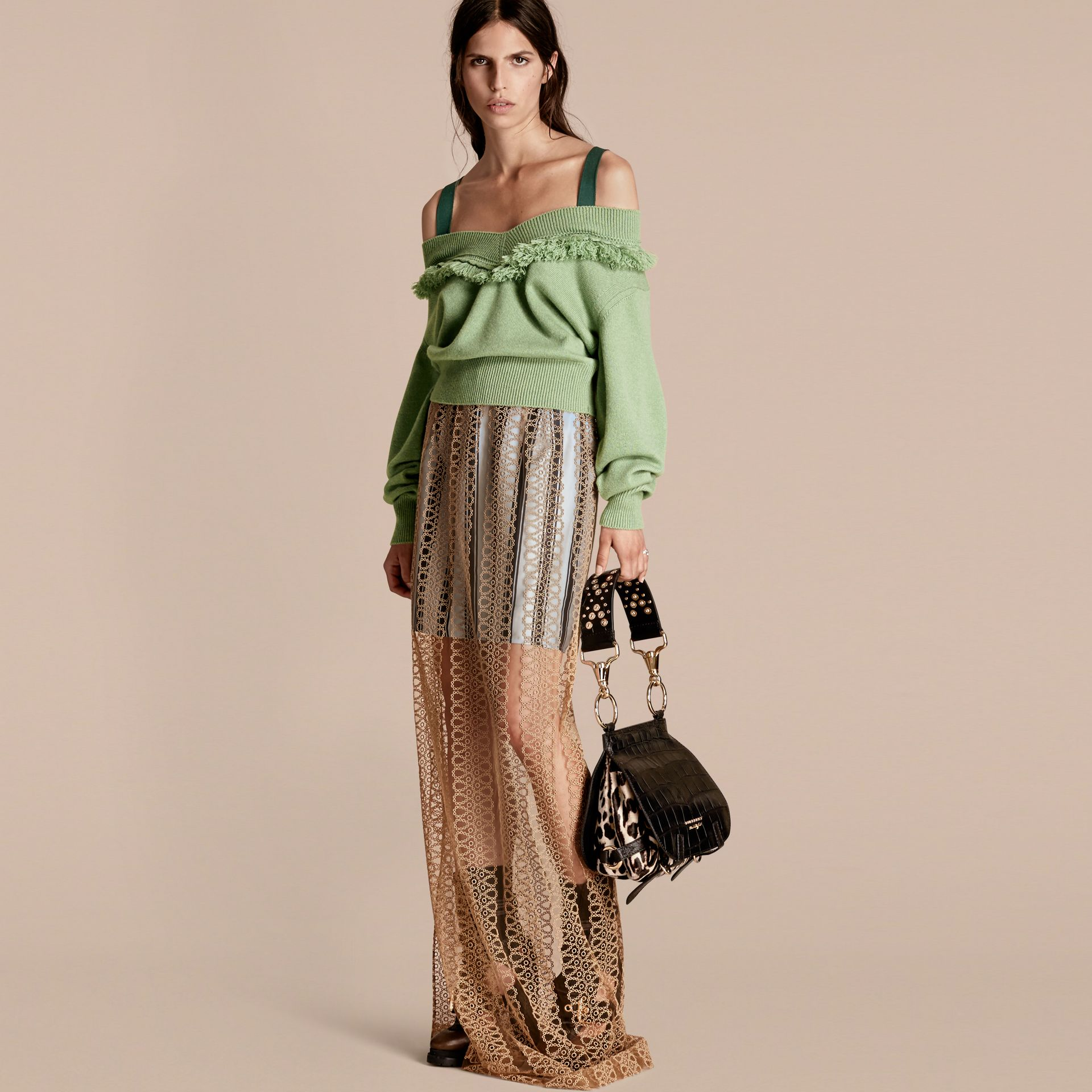 Fringed Off-the-shoulder Cashmere Sweater in Apple Green - gallery image 6