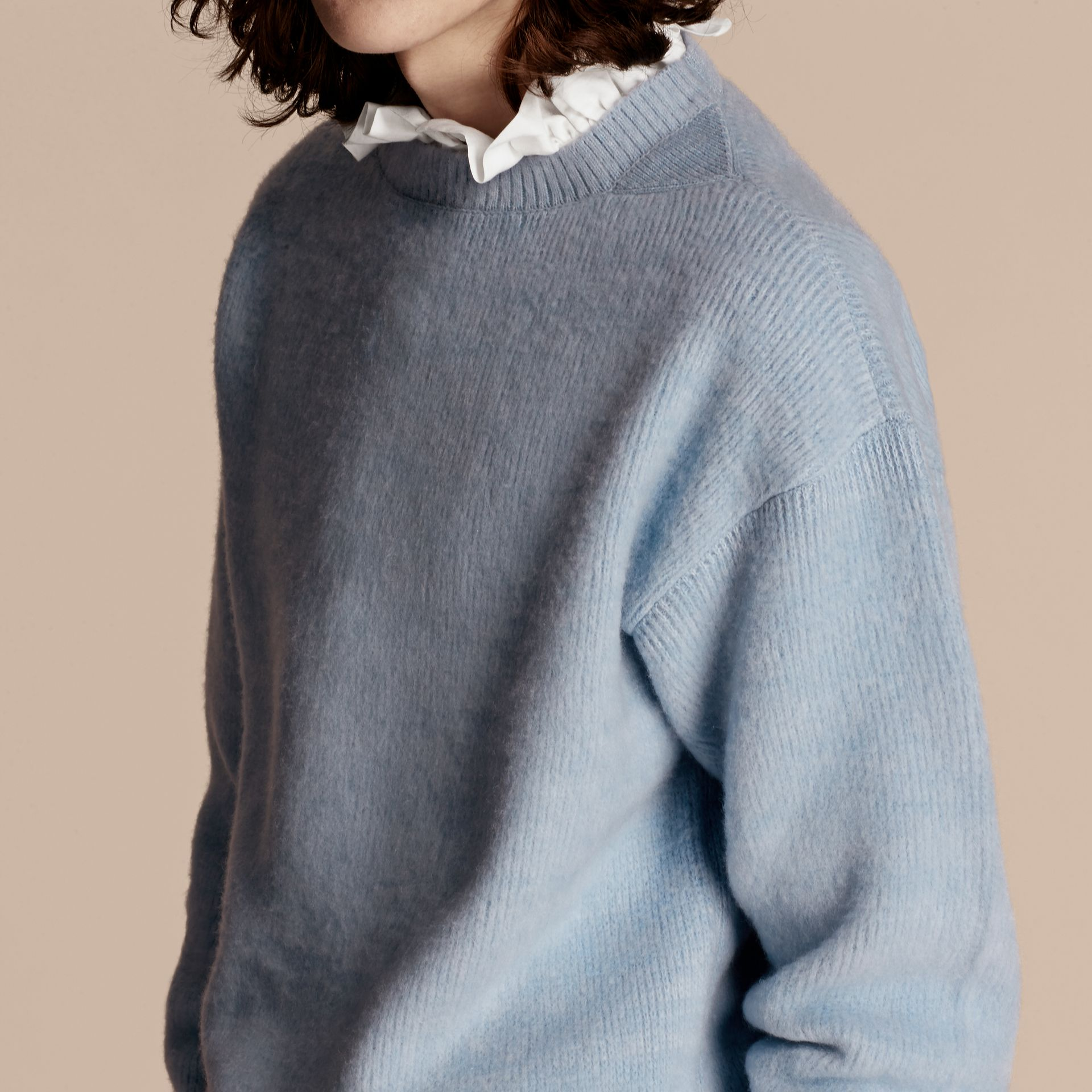 Hydrangea blue Brushed Wool Cashmere Sweater - gallery image 5