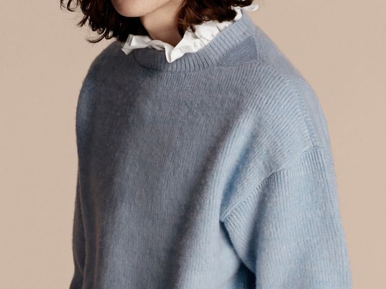Hydrangea blue Brushed Wool Cashmere Sweater - cell image 4