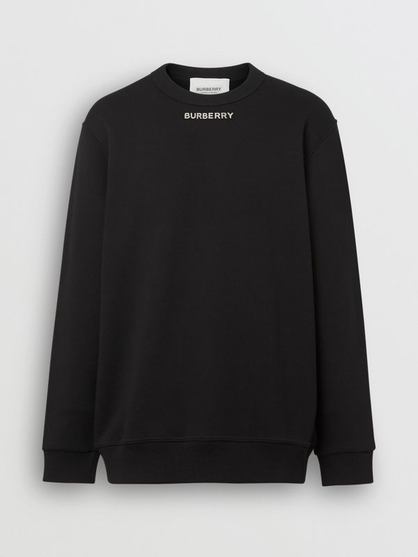 Metal Letter Logo Sweatshirt in Black - Men | Burberry Hong Kong - cell image 2