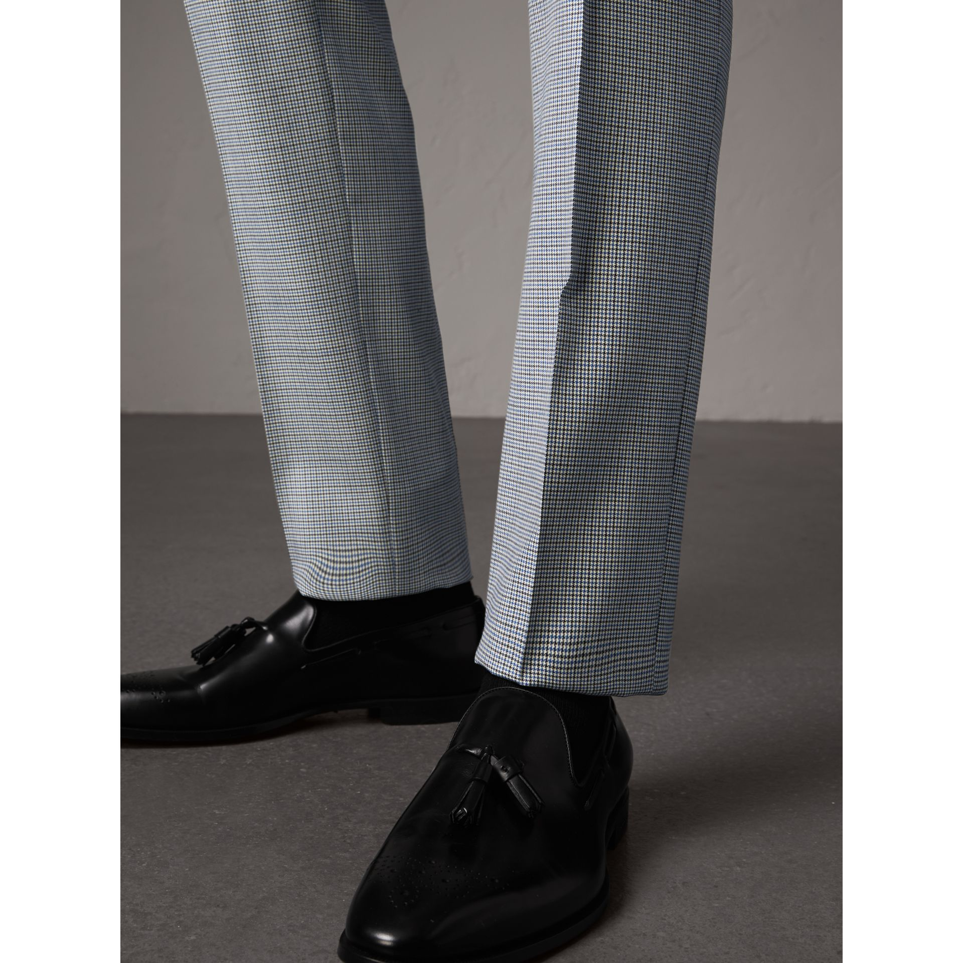 Slim Fit Houndstooth Wool Trousers in Light Blue - Men | Burberry - gallery image 2