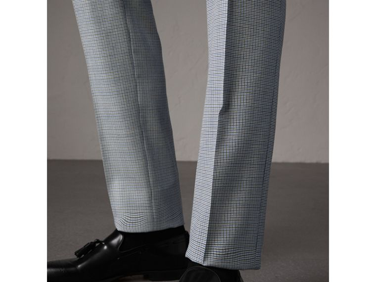 Slim Fit Houndstooth Wool Trousers in Light Blue - Men | Burberry - cell image 1