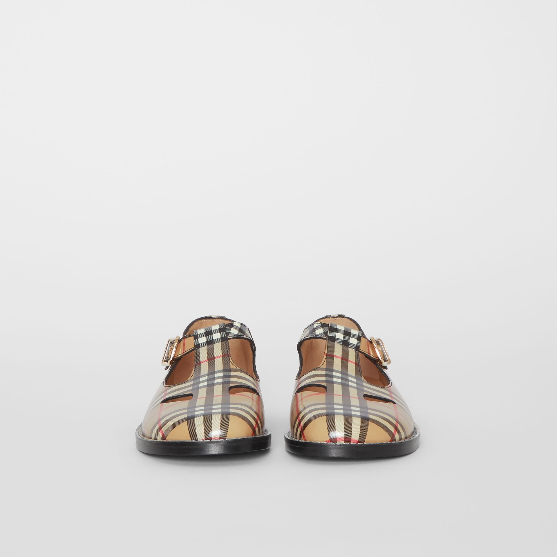 Vintage Check Leather T-Bar Shoes in Archive Beige - Women | Burberry - gallery image 3
