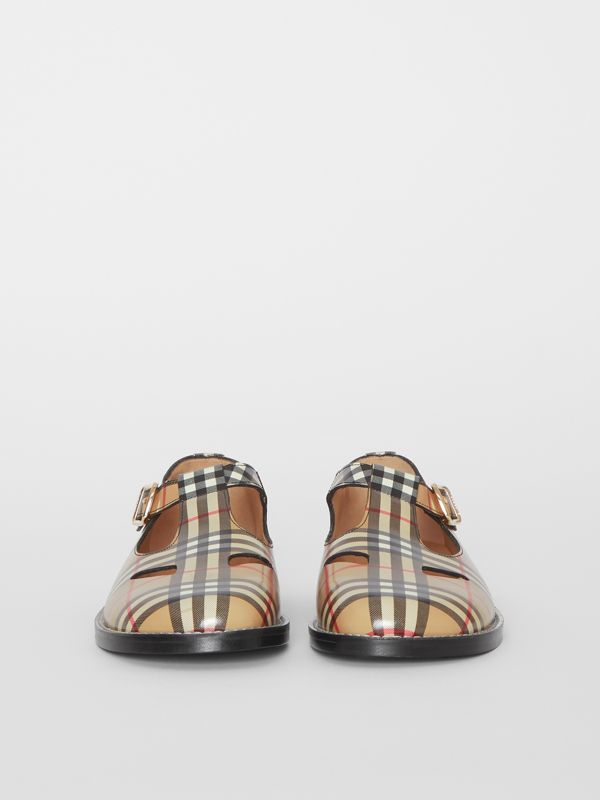 Vintage Check Leather T-Bar Shoes in Archive Beige - Women | Burberry - cell image 3