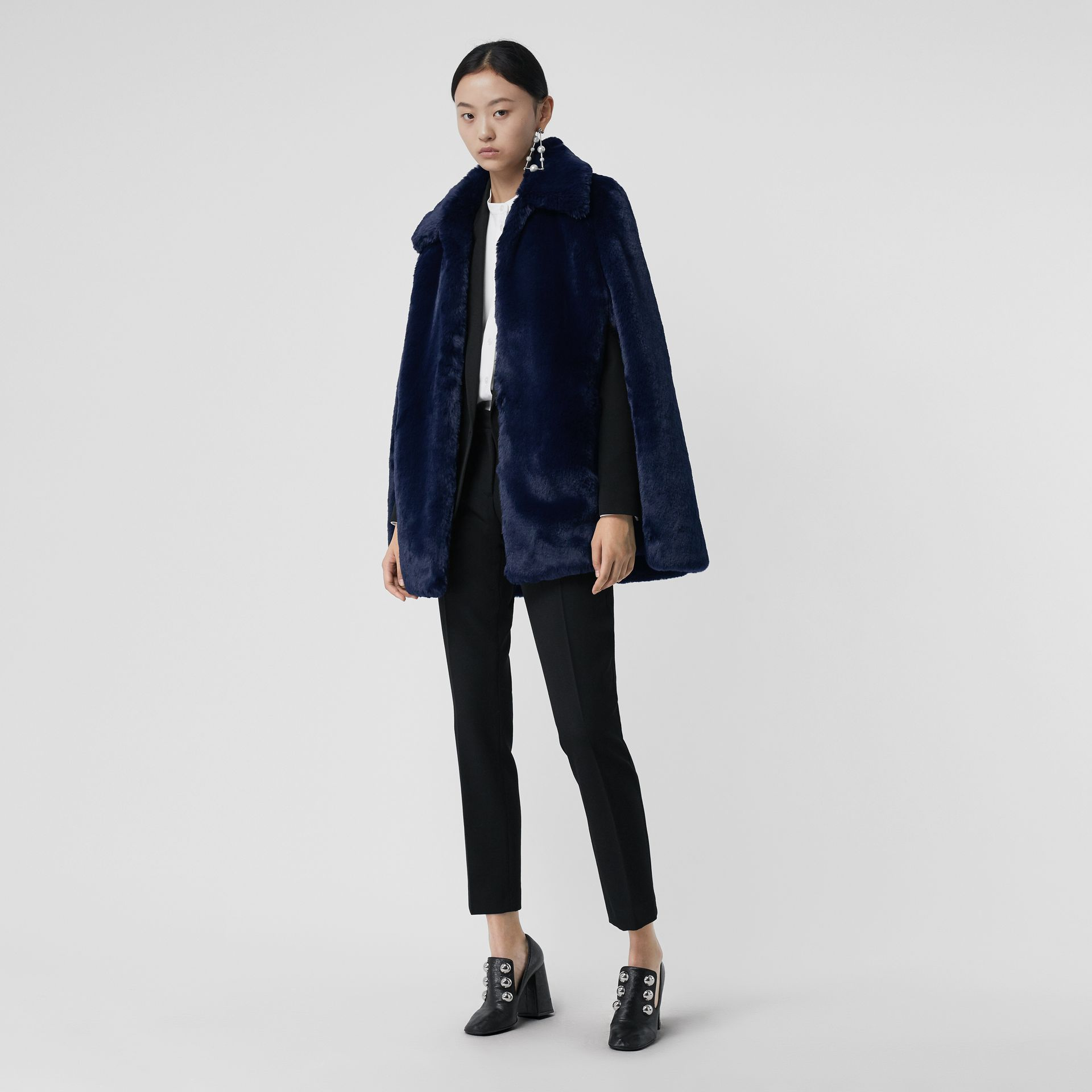 Faux Fur Cape in Navy - Women | Burberry - gallery image 0