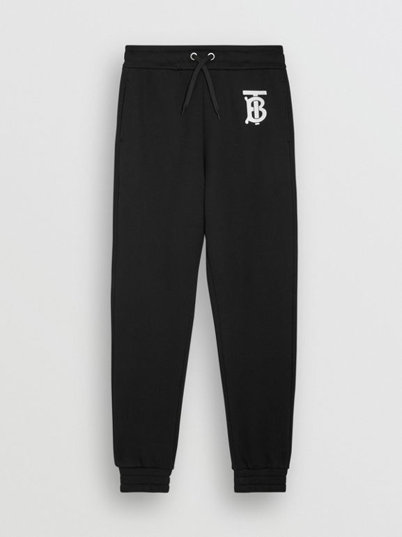 Monogram Motif Cotton Trackpants in Black - Men | Burberry United States - cell image 1