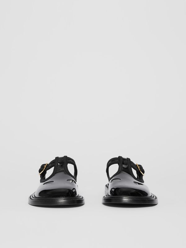 Patent Leather T-bar Mules in Black - Women | Burberry Australia - cell image 3