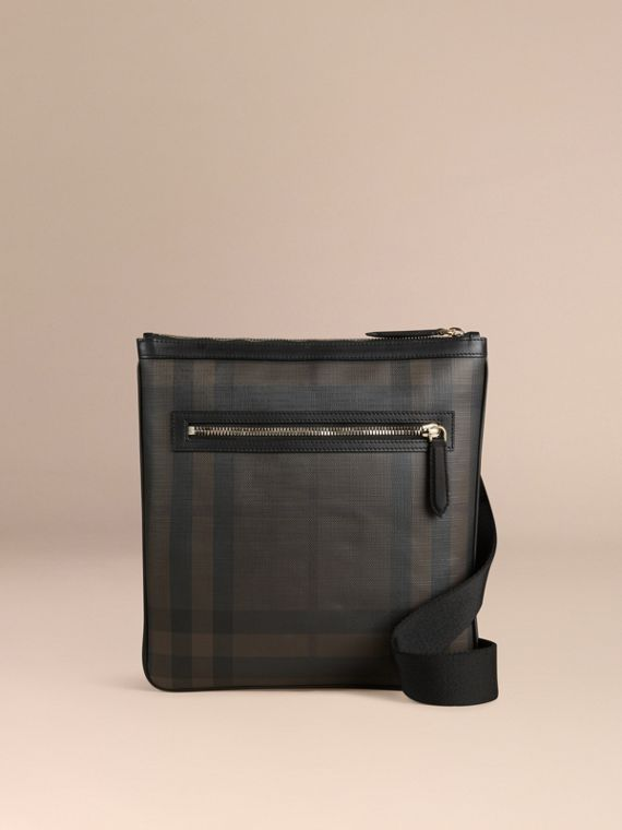 Leather Trim London Check Crossbody Bag in Chocolate/black - Men | Burberry - cell image 3