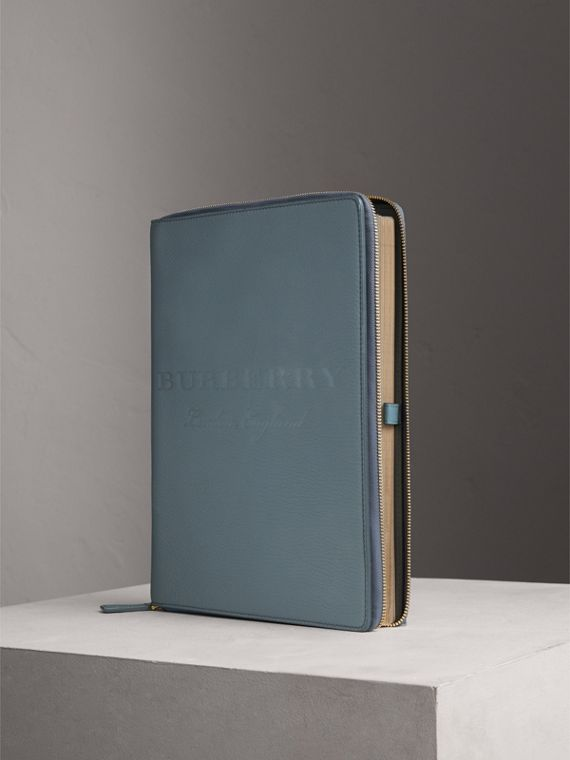 Embossed Grainy Leather Ziparound A4 Notebook Case in Dusty Teal Blue