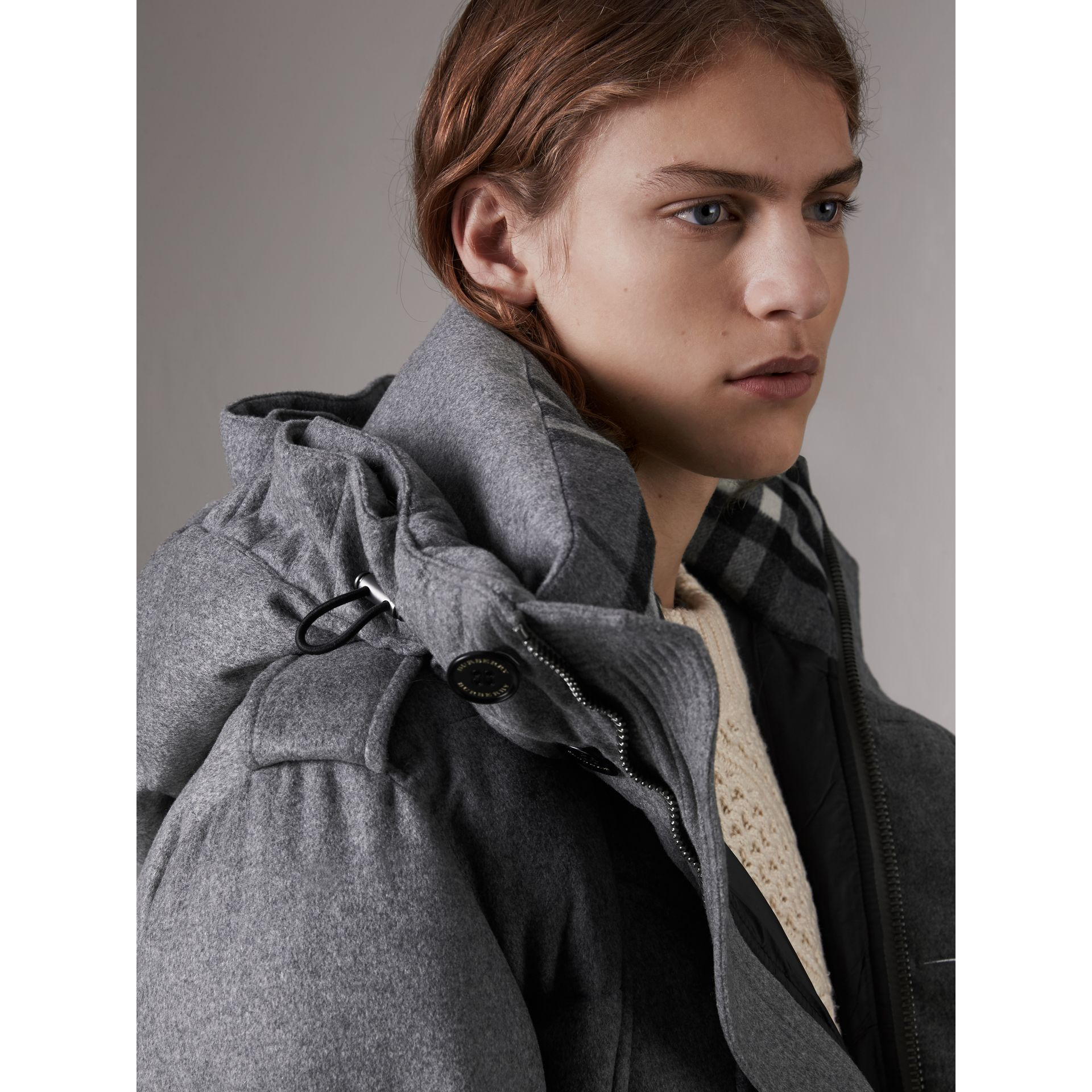 Down-filled Cashmere Hooded Parka in Mid Grey Melange - Men | Burberry - gallery image 4