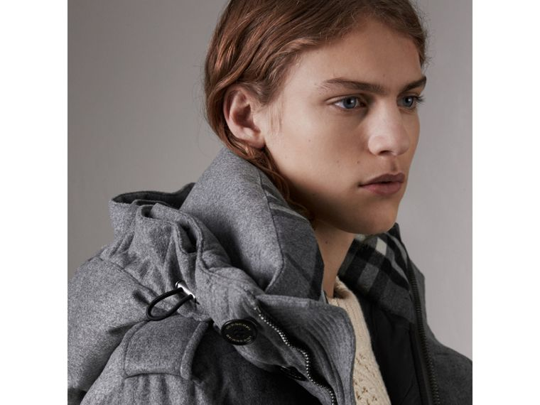 Down-filled Cashmere Hooded Parka in Mid Grey Melange - Men | Burberry Singapore - cell image 4